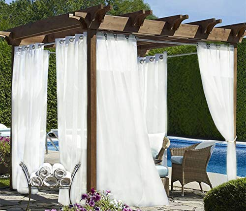 White Look Indoor/ Outdoor Sheer Curtains,54x96 inch, Ring Top Waterproof Indoor Outdoor Curtains/Drapes/Blinds for Patio Privacy, Porch, Gazebo, Deck and Pergola ,Set of 2 Panels