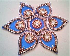Designer Acrylic Rangoli Flower Shape (Set of 7 pcs) (10 inch Diameter) (Blue)