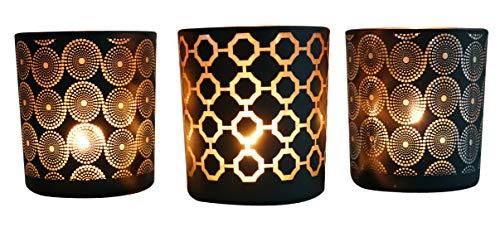 khevga Windlicht Windlichthalter Kerzenhalter Teelichthalter Glas Schwarz Gold 3er Set