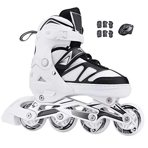 Patines en línea para adultos, patines ajustables en línea para principiantes con ruedas iluminadas para interiores y exteriores, patines de alto rendimiento negro, blanco, 4 tamaños