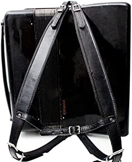 MUSIC FIRST Black Color Genuine Leather Comfortable Padded Accordion Belts 96 Bass 120 Bass Accordion Soft Shoulder Strap Set