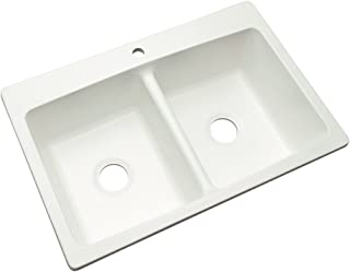 Dekor Sinks 60100NSC Woodbridge Composite Double Bowl Kitchen Sink with One Hole, 33-Inch, White Natural Stone