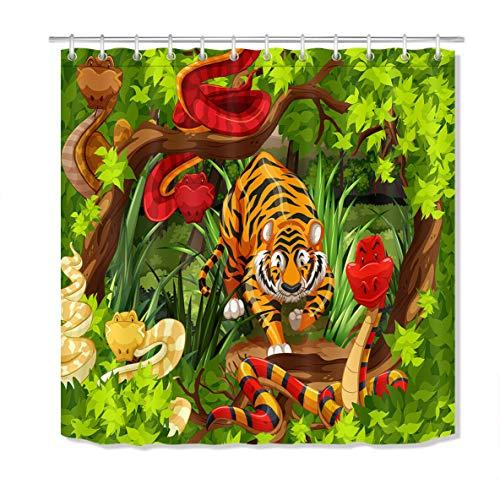 JYEJYRTEJ Dschungel Cartoon Tiger Schlange Dekorativer Duschvorhang kann gewaschen & getrocknet Werden,10Haken,120X180cm,geeignet für Badezimmer