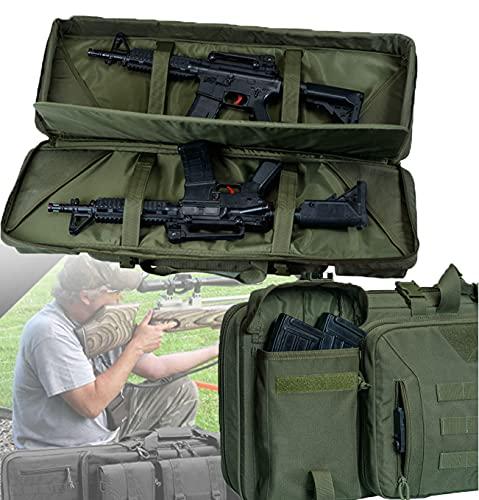 WZFANJIJ Estuche Doble Blando para Rifle Estuche Largo para Pistola Bolsa para Pistola - Mochila para Rifle TáCtico Al Aire Libre con Cerradura para Disparos De Caza,Green