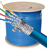 Cables Direct Online 500ft Bulk CAT7 23AWG Cable S/FTP Riser cm Bare Copper Solid Wire 600Mhz Fluke Blue