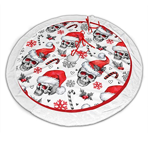 Christmas Tree Skirt, 48' White Faux Fur Border Round Xmas Tree Mat, Sketchy Skulls In Santa Hat Snowflakes Leaves Cretive New Year Pattern Carpet Apron For Christmas Decoration Tree Ornaments