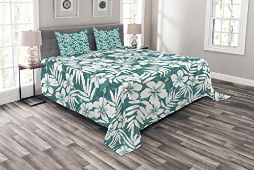 Lunarable Leaf Bedspread, Abstract Hawaiian Exotic Hibiscus Flowers and Banana Palm Leaves Art Print, Decorative Quilted 3 Piece Coverlet Set with 2 Pillow Shams, Queen Size, Petrol Blue