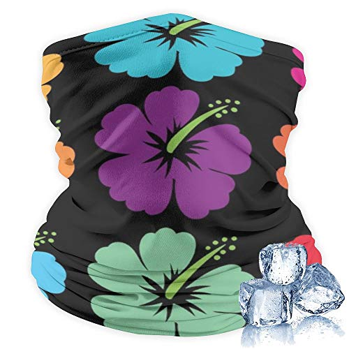 Cooling Neck Gaiter 12+ Ways To Wears, Face Mask for Women Men Hawaiian Flower Hibiscus Face Scarf