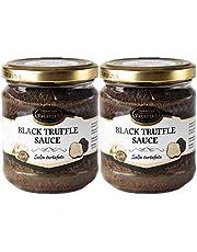 Zwarte truffel Zwarte zomertruffel Tuber aestivum Salsa Tartufata Black summer truffle Luxe Gourmet saus Pasta ideaal voor vlees, gegrild brood, omeletten, pasta, risotto, sushi (2 x 80g)