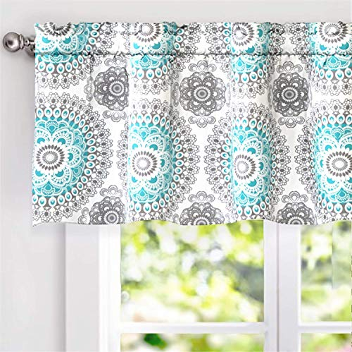 DriftAway Bella Medallion Pattern Room Darkening Rod Pocket Window Curtain Valance 52 Inch by 18 Inch Aqua and Gray