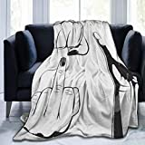 DAOPUDA Soft Fleece Throw Blanket,Diable poingCornes Thumbs Up People You Vintage Boxe Kung Collection Concert Cornuta Main Set Dessin,Home Hotel Sofá Cama Sofá Mantas,75x125cm