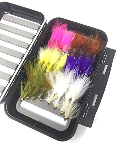 Fly Fishing Assortment - Bead Head Wooly Bugger - 24 Flies with Large Waterproof Fly Box for Trout and Other Freshwater Fish - 6 Color Variety of Yellow, White, Brown, Olive, Purple,Pink Plus Flash