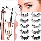 Roiii Magnetic Eyeliner and Lashes Kit, Magnetic Eyeliner for Magnetic Lashes Set, With Reusable 5Pair Lashes (5 Pair)