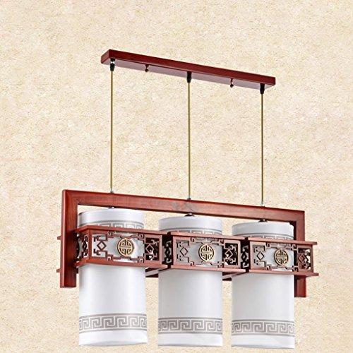 Lustre Salle à manger Chandeliers Restaurant Trois Carré Carré En Bois Massif Imitation Lampes En Cuir Style Chinois LED (Size : 23 * 38 * 78cm)