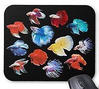 カラフルなベタのマウスパッド:フォトパッド( 世界の熱帯魚シリーズ ) (黒)