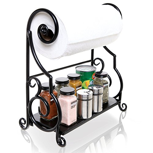 MyGift Black Metal Kitchen Countertop Scrollwork Design Paper Towel Holder Bar with Condiment Shelf Rack
