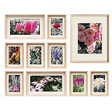 Golden State Art 3D Set of 10 Multi Pack Picture Frames Photo Frame Set, Home Gallery Wall Decoration Gift W/Ivory color Picture Mat & Real Glasses (Natural)