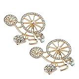 FPTB Los Diamantes de Cristal Broche de Bicicletas de Alto Grado de Navidad Broches Pin Vacaciones Aniversario del cumpleaños Regalos de Joyas Accesorios Femeninos, 1.4X1.6In,2Pcs