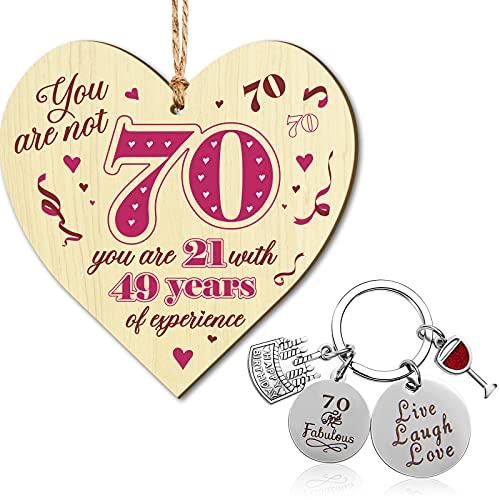 Hicarer 70th Birthday Plaque and 70th Birthday Keyrings Set, 70th Birthday...