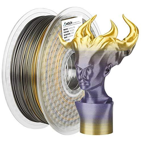 AMOLEN Filamento Impresora 3D, Oro Seda y Violeta Brillante Filamento PLA 1.75, Material de Impresión 3D, 1KG