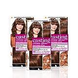 L'Oreal Paris Casting Creme Gloss Tinte para el cabello marrón semipermanente, mezcla el cabello gris dejando un color de cabello radiante, , Brown Hair Dye 600 Light Brown (Paquete de 3)