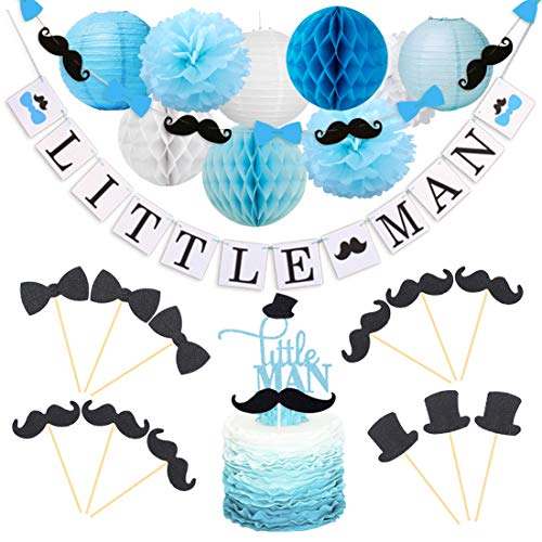 Little Man Baby Shower Decorations Little Man Cake Topper Mustache Hat Bow Tie Cupcake Toppers Garland for Birthday Party Decorations