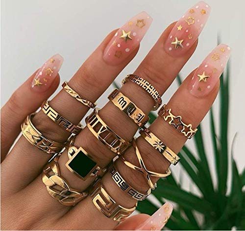 Cathercing 13 Pcs Women Rings Set Knuckle Rings Gold Bohemian Rings for Girls Vintage Gem Crystal Rings Joint Knot Ring Sets for Teens Party Daily Fesvital Jewelry Gift