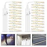 Tira de Luces LED con Sensor de Movimiento, 2Pack 1M Tira Luz Cuerda Pilas Recargable, 3500K Blanco Frio Luz Armario Luz LED Nocturna para Habitaciones de Niños, Dormitorios, Escaleras, Baño, Pasillo