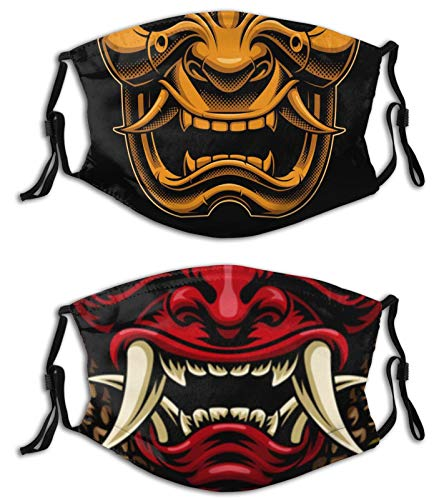 Oni Samurai Face Mask with Filters, Washable Reusable Scarf Balaclava for Women Men Adult Teens