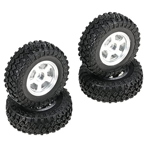 Festnight 4PCS 48 * 18mm RC Car Neumáticos con llanta de aleación de Aluminio para 1/24 RC Buggy Todoterreno Compatible con Axial SCX24 Axial 90081 AXI00001 AXI00002