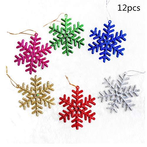 BOSSTER Glitter Sneeuwvlok 12 stuks Kunststof Sneeuwvlok Kleurrijke Kerstmis Hangend Ornament met Touw voor Kerstboom raamdecoratie