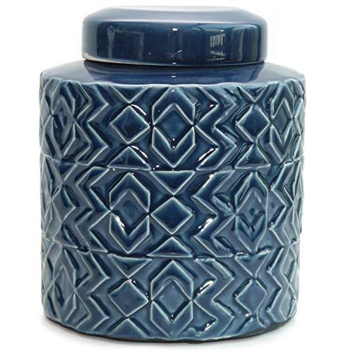 Werner Voss Deckelvase 'Nautical' Maritime Keramikvase Dekovase Vase Keramik blau - im Retro-Design - skandinavisch Vintage Dekoration - 20 cm