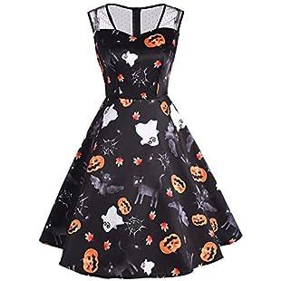 Halloween Costumes Women's Mesh Patchwork Printed Vintage Gown Sleeveless Party Dress Cat Pumpkin Fancy (Black, XL):Whiteox