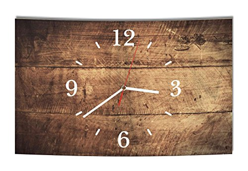 Homeyourself LAUTLOSE Designer Wanduhr Holz Optik braun bretter rustikal modern Dekoschild Abstrakt Bild 39 x 25cm