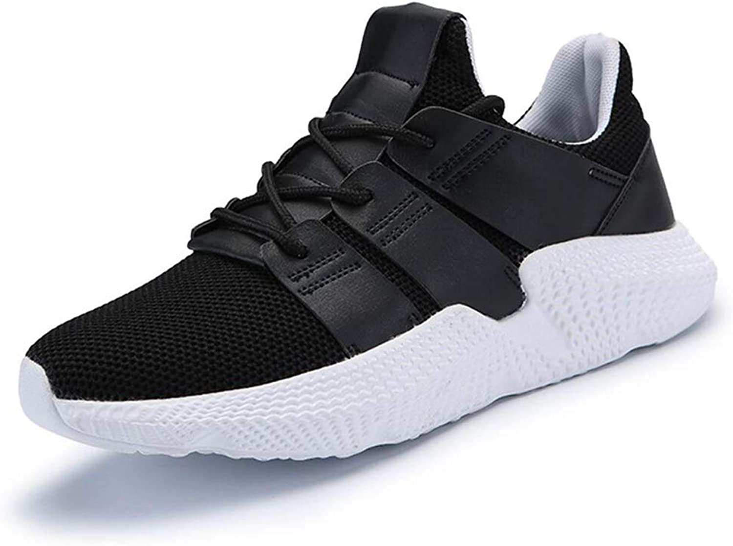 Outdoor Sneakers for Mens Woven Mesh Casual shoes Flying shoes Breathable and Comfortable Men's Outdoor Running Tricolor (color   BlackAndWhite, Size   43)