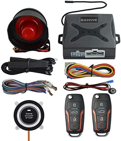 BANVIE PKE Passive Keyless Entry Car Alarm System Push Start Button Remote Engine Start with product image