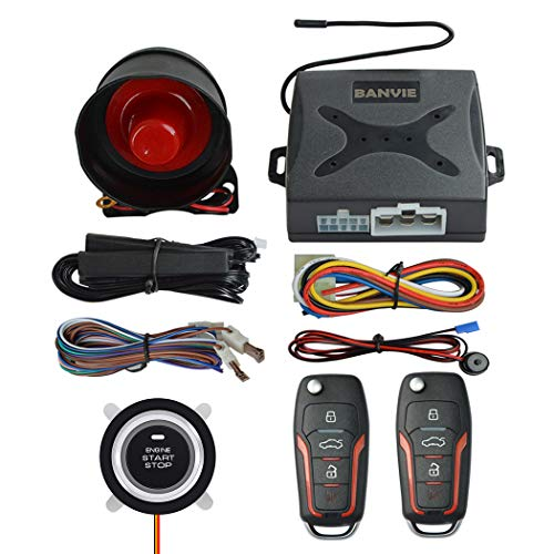 BANVIE PKE Passive Keyless Entry Car Alarm System Push Start Button Remote Engine Start (with Siren)
