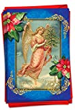 The Best Card Company - 12 Religious Christmas Cards Boxed - Bulk Religion Notecard Set, Holiday Bible Quotes and Angels (1 Design, 12 Cards) - Christmas Angels Blue B1747AXSG