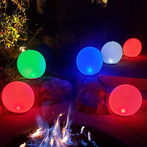 Inflatable LED Light Ball 2 PCS,Cootway 14' Hangable Globe Night Lights RGB Color Changing,Dimmable Orbs Mood Light Sphere Table Lamp,IP68 Waterproof Floating Pool Lights,Bright Light for Home,Garden