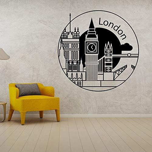 JXND Minimalista London Clock Tower City Landscape Wall Art Sticker Decoración geográfica del hogar 67x67cm