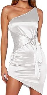 Women Oblique Sexy Strapless Dress Evening Party Cocktail Irregular Mini Dress