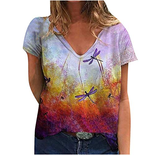 2021 Nuevo Camiseta Mujer Verano Moda impresión Cuadro Manga Corta Elegante Blusa Camisa Talla Grande Cuello en v Camiseta Suelto Tops Casual Fiesta T-Shirt Original tee vpass