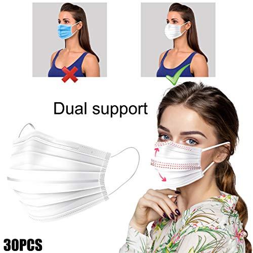 Reasoncool Weich Disposable Mundschutz 3-Lagig Staubdicht Bandana mit Ohrringe, Dreidimensionales Design Abdeckung mit Doppelter Unterstützung