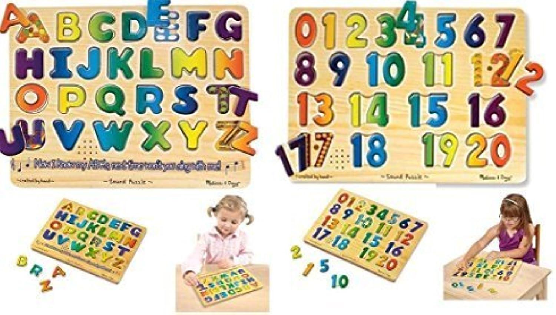 ordene ahora los precios más bajos Wood Alphabet & Numbers Sound Puzzles For Kids by Constructive Constructive Constructive Jugarthings  entrega rápida