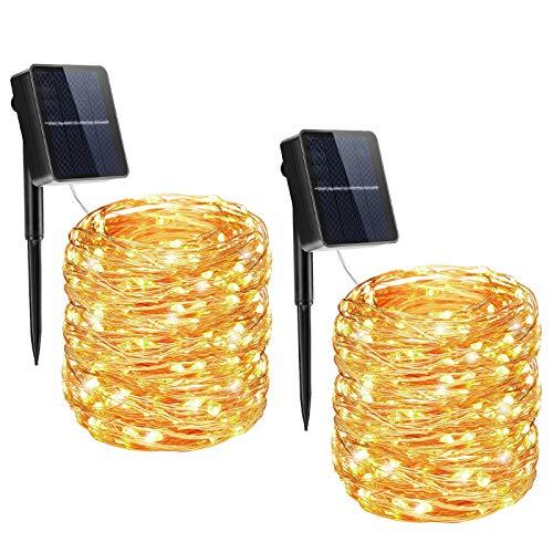 [2 Pack] Guirnaldas Luces Exterior Solar, Qxmcov Cadena de Luces 22M 200...