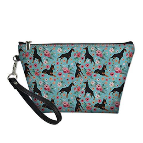 chaqlin Bolsa de almacenamiento trapezoidal bolsas de embrague lindo perro patrón floral viaje bolsas de maquillaje (patrón 2)