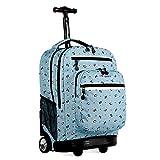 J World New York Rolling Backpack Girls Boys Roller Bookbag Wheels, Panda, One Size