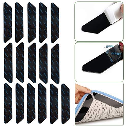 BaiJ Teppichgreifer,16er Pack Antirutschmatte für Teppich Anti-Rutsch-Teppichgriffe Antirutschmatte Aufkleber Teppichunterlage Teppichstopper für Holzböden Teppiche Schwarz 130 * 25mm