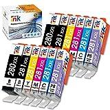 Starink - Cartuchos de Tinta compatibles para Canon 280 281 PGI-280XXL CLI-281XXL PGI 280 XXL CLI 281 XXL para PIXMA TS9120 TS8120 TS8220 (2 PGBK, 2BK, 2C, 2M, 2Y, 2PB), 12 Unidades