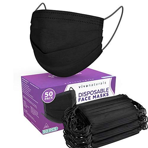 Black Face Mask (50 Pack) - Premium 3-Ply Black Mask, Adult Face Masks Designed with Comfortable Earloops & Adjustable Nose Strip, Non-Medical Black Disposable Face Mask